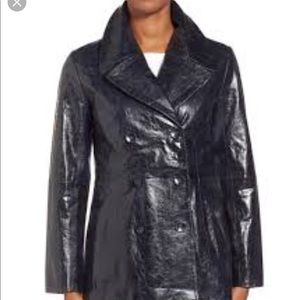 Halogen High Shine Leather Peacoat, size M